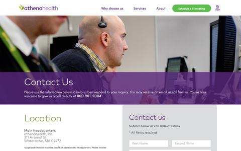 Screenshot of Contact Page athenahealth.com - Contact Us | athenahealth - captured Feb. 3, 2019