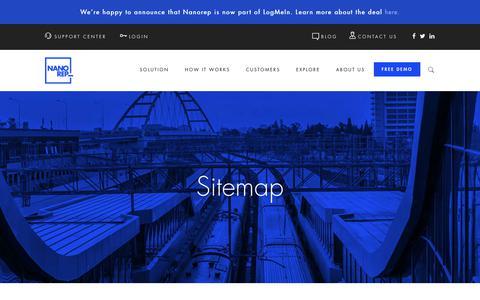 Screenshot of Site Map Page nanorep.com - Sitemap   Nanorep - Digital Customer Self-Service Solution - captured Aug. 2, 2017