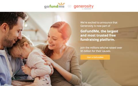 Screenshot of Home Page generosity.com - Generosity Has Joined GoFundMe, The Leader in Free Fundraising - captured May 13, 2018