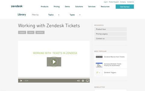 Screenshot of Support Page zendesk.com - Working with Zendesk Tickets   Zendesk - captured Feb. 27, 2017