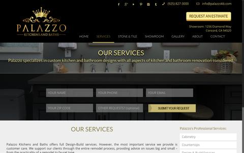 Screenshot of Services Page palazzokb.com - Custom Kitchen & Bathroom Remodeling Services | Concord, CA - captured Dec. 14, 2018