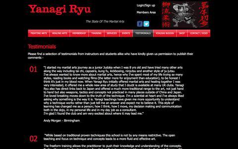 Screenshot of Testimonials Page yanagiryu.co.uk - Martial Arts Testimonials - captured Nov. 19, 2016