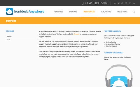 Screenshot of Support Page frontdeskanywhere.com - Hotel management software support and training - captured Oct. 28, 2014