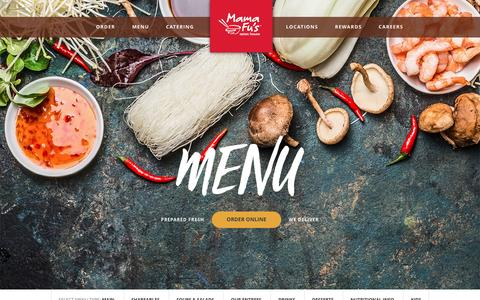 Screenshot of Menu Page mamafus.com - Menu - Mama Fu's Asian HouseMama Fu's Asian House - captured March 29, 2017