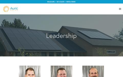 Screenshot of Team Page auricsolar.com - Leadership — Auric Solar - captured Jan. 17, 2018