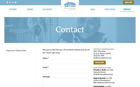 Screenshot of Contact Page maryryderhome.org - Contact   Mary Ryder Home - captured Jan. 9, 2016