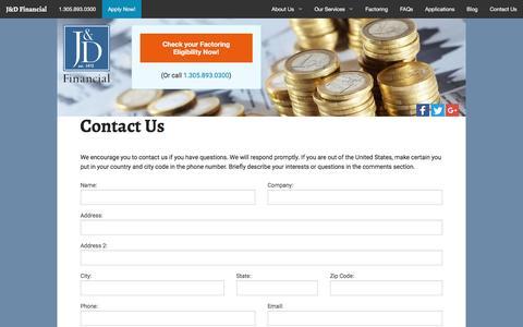 Screenshot of Contact Page jdfinancial.com - Contact Us | JDFinancial.com - captured Nov. 17, 2016