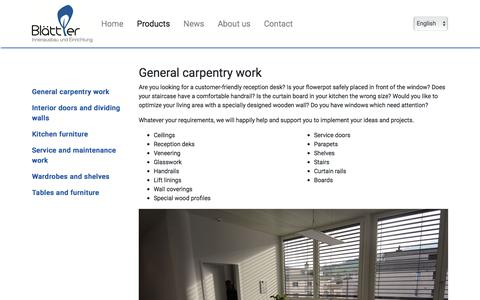 Screenshot of Products Page blaettler-schreinerei.ch - General carpentry work :: Blättler AG - captured May 15, 2018