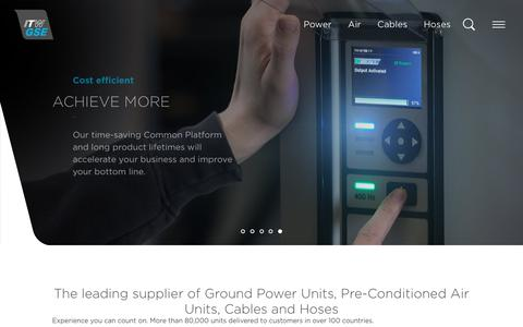 Screenshot of Home Page itwgse.com - ITW GSE - The leading supplier of Ground Power Units, Cables and Hoses - captured Sept. 29, 2018