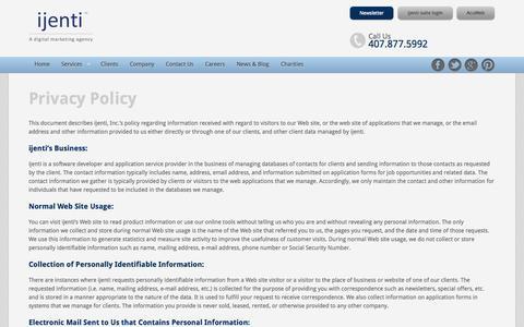 Screenshot of Privacy Page ijenti.com - Ijent a Digital Marketing Agency - Privacy Policy | ijenti - captured Oct. 6, 2014