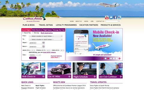 Screenshot of Home Page caribbean-airlines.com - Caribbean Airlines Limited   Caribbean Airlines, the warmth of the islands - captured Sept. 18, 2014