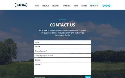 Screenshot of Contact Page takadu.com - TaKaDu - Integrated Event Management for the Water Industry - captured May 9, 2017