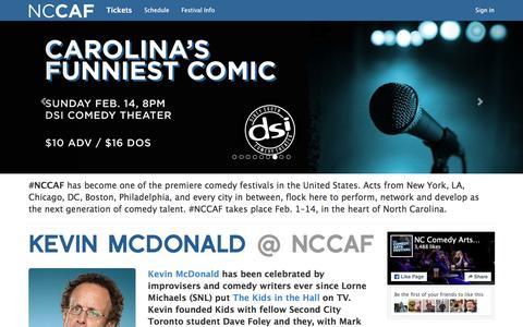 Screenshot of Home Page nccomedyarts.com - #NCCAF - NC Comedy Arts Festival - captured Feb. 16, 2016