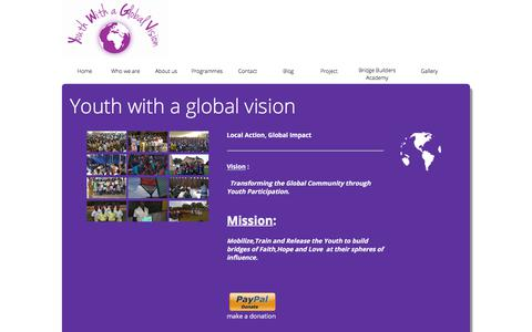 Screenshot of Home Page youthwithaglobalvision.org - Youth with a Global Vision - captured Sept. 20, 2018
