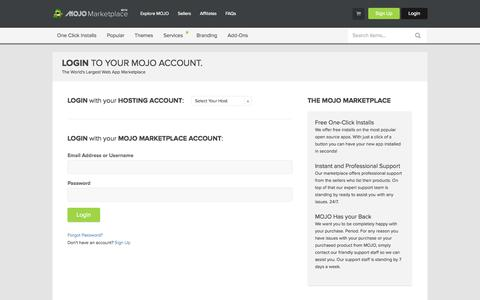 Screenshot of Support Page Login Page mojomarketplace.com - User Login | MOJO Marketplace - captured Oct. 22, 2014