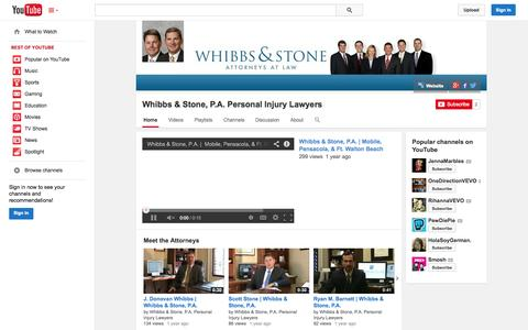 Screenshot of YouTube Page youtube.com - Whibbs & Stone, P.A. Personal Injury Lawyers  - YouTube - captured Oct. 26, 2014