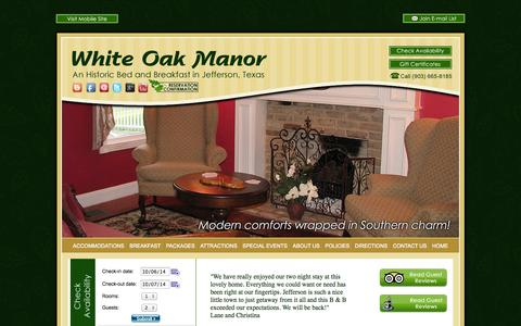 Screenshot of About Page Contact Page Maps & Directions Page bedandbreakfastjeffersontx.com - Experience East Texas lodging at it's finest at our Jefferson B&B - captured Oct. 7, 2014