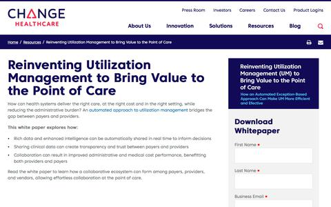 Screenshot of Team Page changehealthcare.com - Reinventing UM to Bring Value to the Point of Care | Change Healthcare - captured Feb. 20, 2020