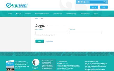 Screenshot of Login Page arataiohi.org.nz - Login | Ara Taiohi - captured Feb. 14, 2016