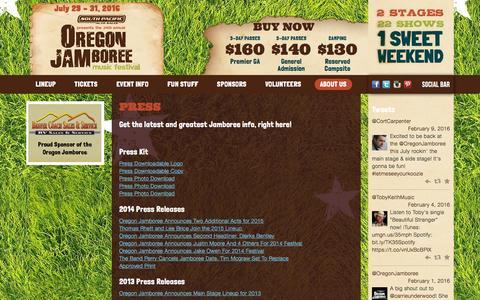 Screenshot of Press Page oregonjamboree.com - Press   Oregon Jamboree - captured Feb. 13, 2016