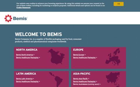 Screenshot of Home Page bemis.com - Bemis - Welcome | Bemis Company, Inc. - captured Nov. 5, 2015