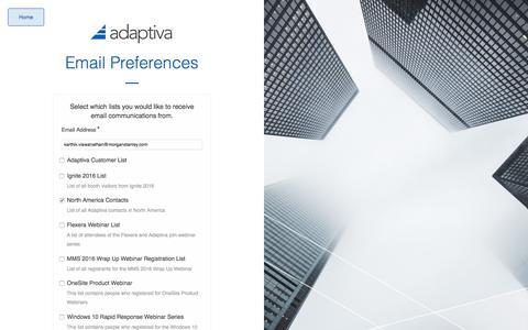 Screenshot of Landing Page adaptiva.com - Email Preference Center - captured Nov. 24, 2016