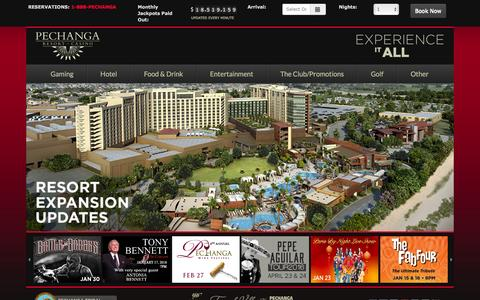 Screenshot of Home Page pechanga.com - Pechanga Resort & Casino - captured Jan. 9, 2016