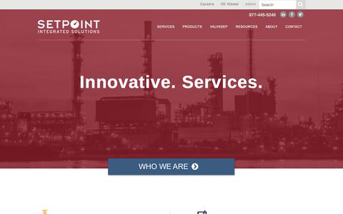 Screenshot of Home Page setpointis.com - Setpoint Integrated Solutions | Innovative. Services. - captured Oct. 11, 2017