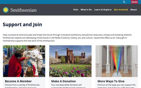 Screenshot of Support Page si.edu - Support and Join| Smithsonian Institution - captured Aug. 25, 2017