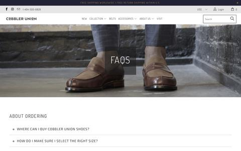 Screenshot of FAQ Page cobbler-union.com - FREQUENTLY ASKED QUESTIONS - Cobbler Union - captured July 19, 2018