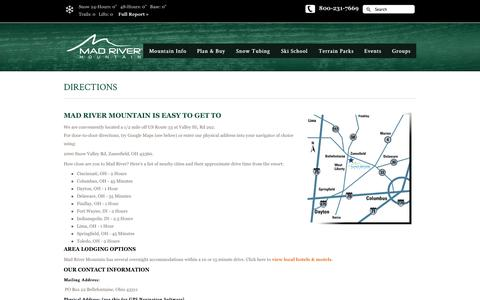 Screenshot of Maps & Directions Page skimadriver.com - DIRECTIONS | SkiMadRiver.com - captured Nov. 2, 2014