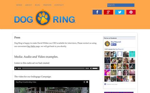 Screenshot of Press Page thedogring.com - Press - The Dog Ring - captured Oct. 5, 2014