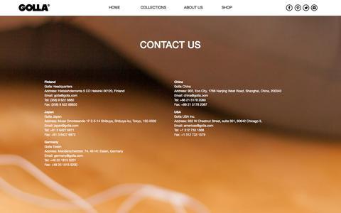 Screenshot of Contact Page golla.com - Contact us - Golla - captured Sept. 30, 2014