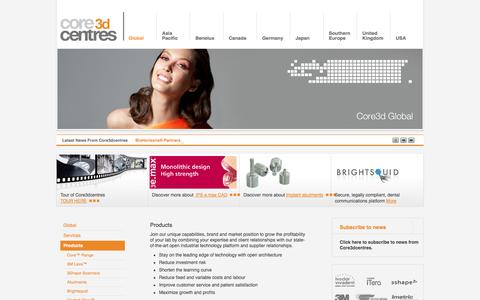 Screenshot of Products Page core3dcentres.com - Products » Core3dcentres - captured Sept. 26, 2014
