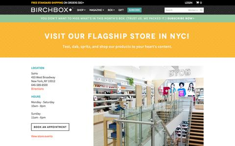 Screenshot of Locations Page birchbox.com - SoHo Retail Store | Birchbox - captured Oct. 28, 2014