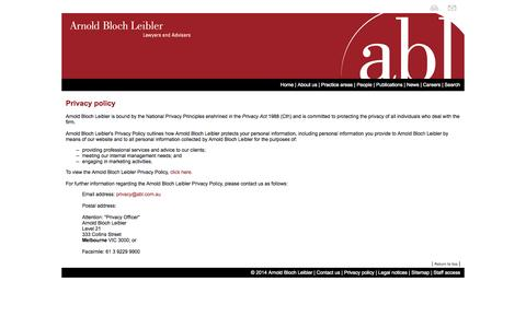 Screenshot of Privacy Page abl.com.au - Arnold Bloch Leibler – Lawyers & Advisers - captured Oct. 4, 2014