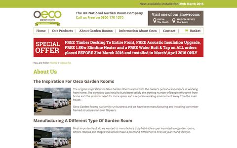 Screenshot of About Page oecogardenrooms.co.uk - About Us : Oeco Garden Rooms - captured March 4, 2016