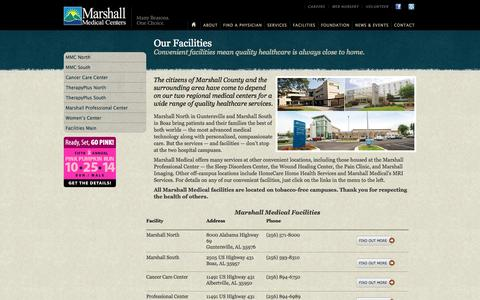 Screenshot of Maps & Directions Page mmcenters.com - Marshall Medical Centers || Facilities || Welcome - captured Oct. 27, 2014
