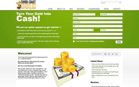 Screenshot of Home Page thirdcoastgold.com - Third Coast Gold | Turn your old gold into cash! - captured Oct. 9, 2014