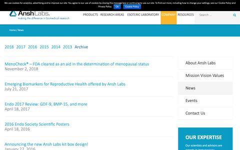 Screenshot of Press Page anshlabs.com - News   Ansh Labs - captured Nov. 6, 2018