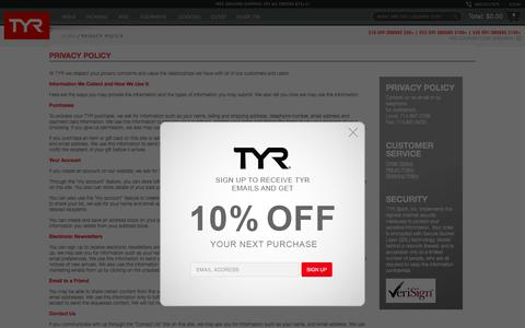 Screenshot of Privacy Page tyr.com - Privacy Policy - TYR Sport - captured Dec. 1, 2016