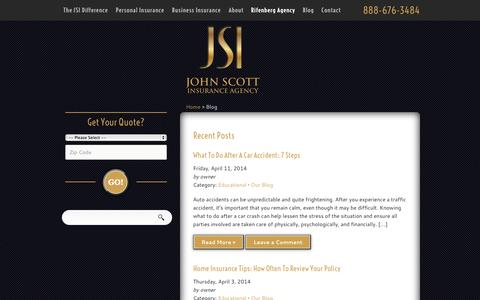 Screenshot of Blog johnscottinsurance.com - Our Blog | John Scott Insurance Agency - captured Oct. 6, 2014