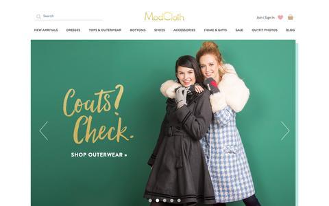 Screenshot of Home Page modcloth.com - Unique & Cute Clothes, Accessories & Decor | ModCloth - captured Nov. 19, 2015