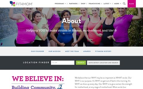 Screenshot of About Page fit4mom.com - About Stroller Strides and Fit4Mom - FIT4MOM - captured Sept. 23, 2014
