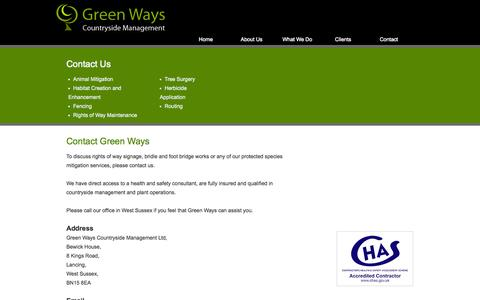 Screenshot of Contact Page greenwayscm.co.uk - Green Ways Countryside Management | East & West Sussex | Green Ways Countryside Management - captured Oct. 3, 2014