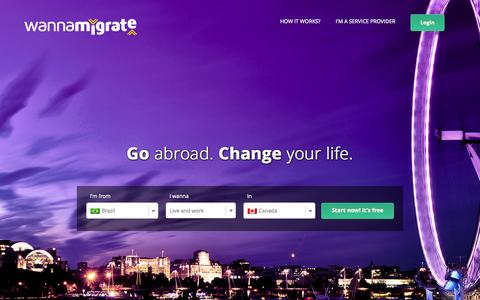 Screenshot of Home Page wannamigrate.com - Wanna Migrate - Go Abroad. Change your life. - captured July 3, 2015