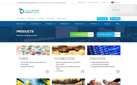 Screenshot of Products Page amanacapital.com - Products - captured May 29, 2017
