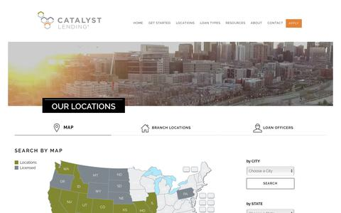 Screenshot of Locations Page Maps & Directions Page catalystlending.com - Our Branch Locations at Catalyst Lending - captured July 18, 2017