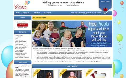 Screenshot of Home Page customcreationsunlimited.com - Personalized Photo Blankets | Custom Photo Gifts - captured Feb. 2, 2016