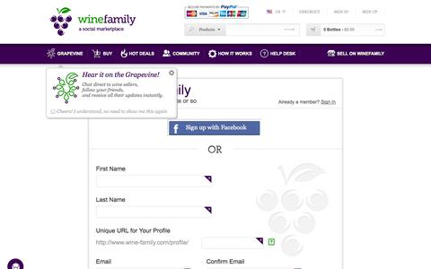 Screenshot of Signup Page wine-family.com - Sign Up :: WineFamily - captured Oct. 26, 2014